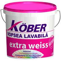 Vopsea lavabila de interior, Kober Extra Weiss, alba, 4L