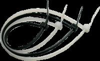 Banda zimtata, 150 x 2.5 mm, alb, set 100 bucati