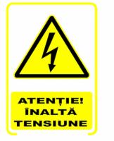 Semn avertizare Inalta Tensiune, pret / buc